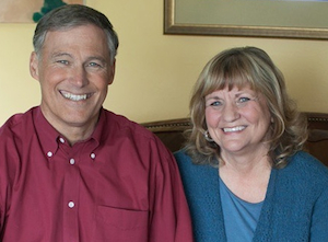 First Lady Trudi Inslee and Governor Jay Inslee, at home on Bainbridge Island