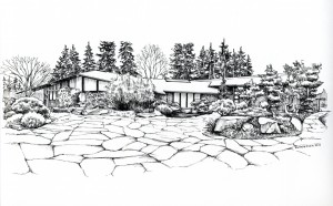 A sketch of the Bainbridge Island Public Library by life-long island resident Kristin Tollefson.