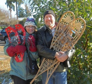 The library's Tressa Johnson and John Fossett, featured in this interview, prepare for Snowshoeing With Jeff!