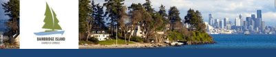 This image of Bainbridge - and the Seattle skyline - graces the Chamber's website.