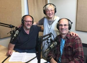 Artist Bill Baran-Mickel (left) with BPAA board member Frank Petrie and BCB podcast host Channie Peters