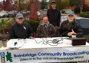 Left to right are BCB host Bob Ross, guest Paul Svornich, student Shaemus Kreidler and BCB tech Chris Walker