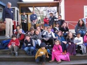 Reid, as Museum volunteer, welcomes Ordway School 2nd graders to the BI Historical Museum