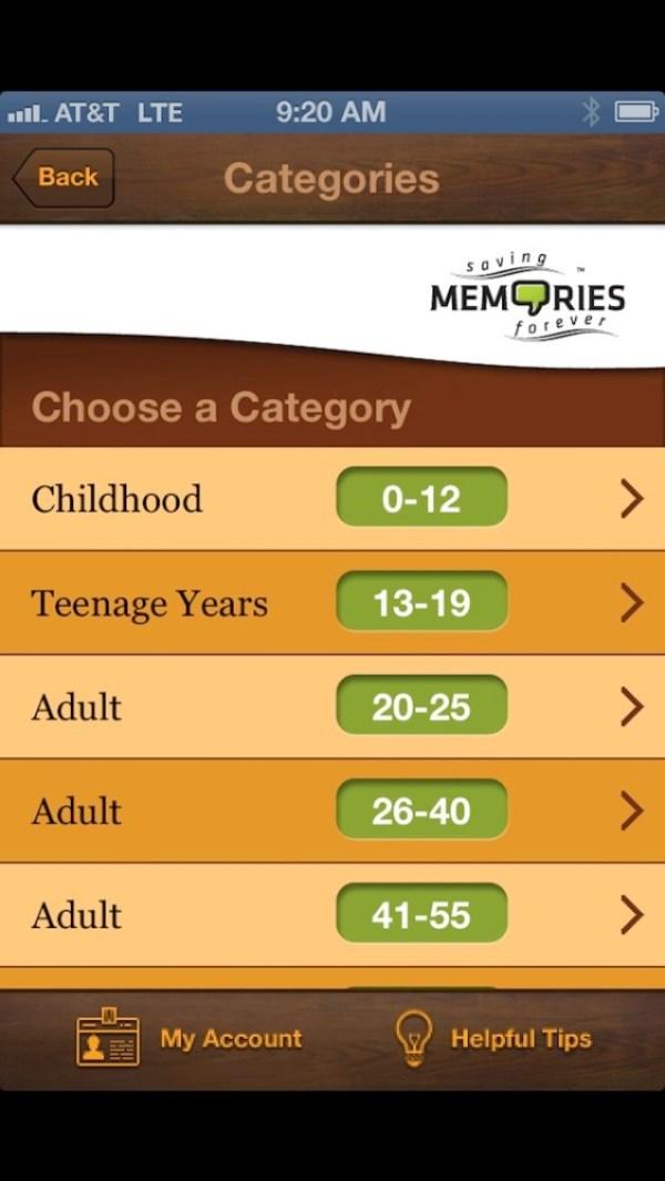 saving memories forever app categories