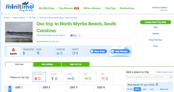 My trip plan to N. Myrtle on Minitime ScreenShot