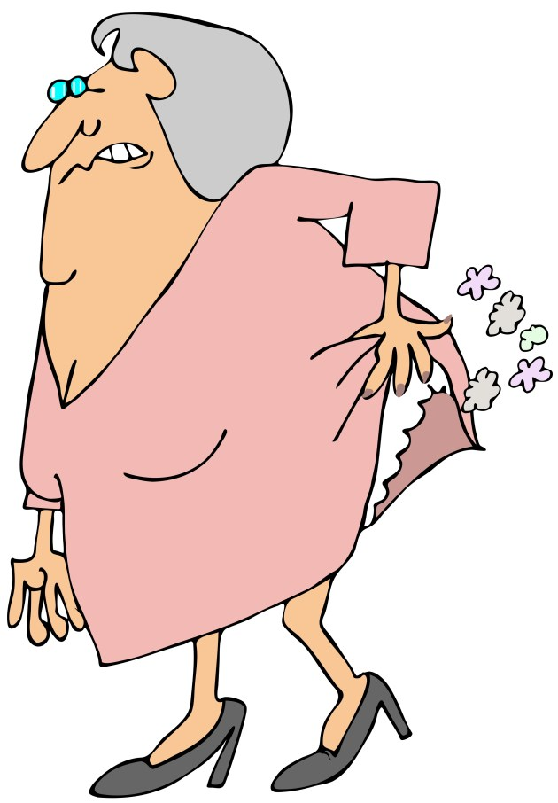 Old woman passing gas