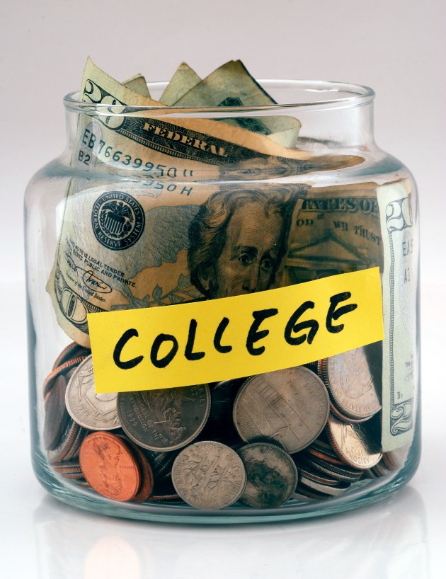 "A lot of money in a glass bottle labeled ""College"""