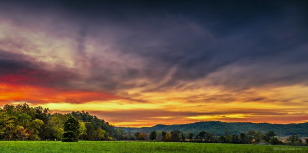 Autumn sunset at Cade's Cove in Great Smoky Mountains National Park