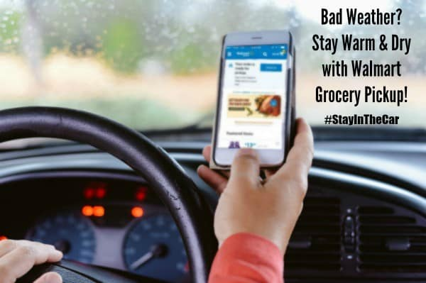 With Walmart Grocery Pickup you can stay warm and dry in your car #stayedincar