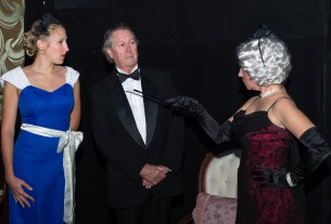 "Jim and Diane Landskroener (right) and Lindsey Hammer in Church Hill Theatre's 2016 production of ""Games Afoot"" - Photo:SG Atkinson"