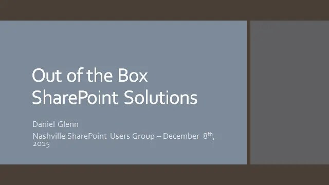Nashville SharePoint Users Group Presentation