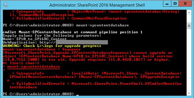 Mount-SPContentDatabase 2016 RC on SharePoint 2010 Database