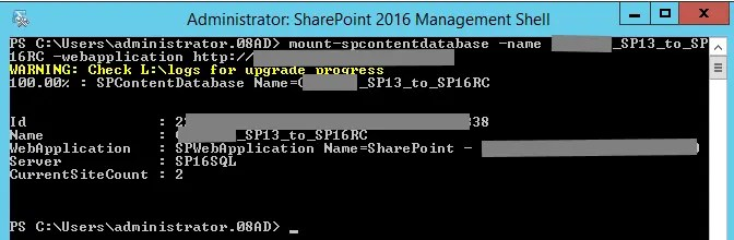 Mount-SPContentDatabase 2016 RC on SharePoint 2013 Database