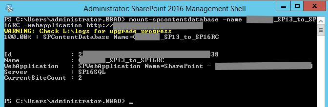 Mount-SPContentDatabase 2016 RC on SharePoint 2013 Database
