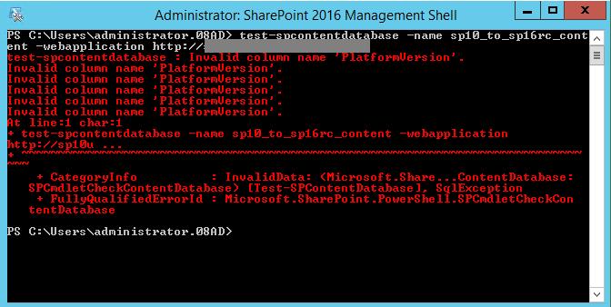 Test-SPContentDatabase 2016 RC on SharePoint 2010 Database