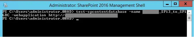 Test-SPContentDatabase 2016 RC on SharePoint 2013 Database