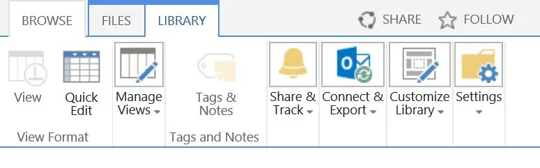 Document Library Settings Button