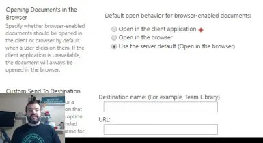 Set the default open behavior for browser enabled documents