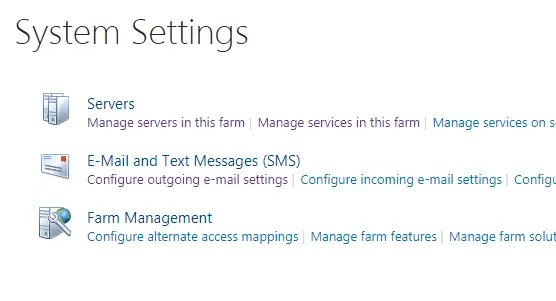 SharePoint System Settings