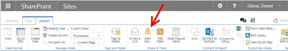 SharePoint library with alerts available