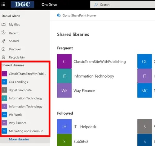 Old OneDrive Shared Libraries