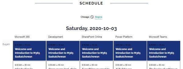 M365 Saskatchewan 2020 Schedule #M365Sask
