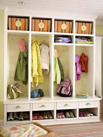 Use wallpaper scraps on closets