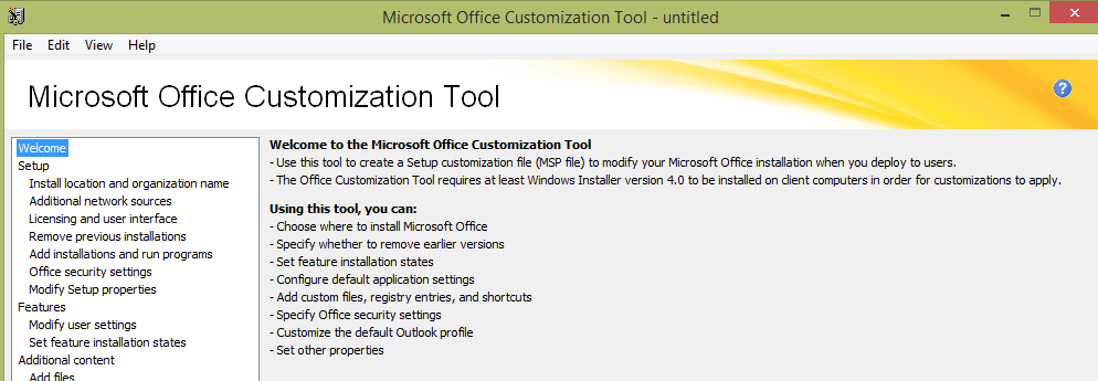the microsoft office customization tool oct