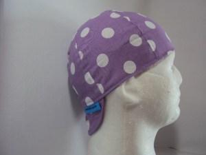 Polka Dots White On Lt Purple Welding Hat