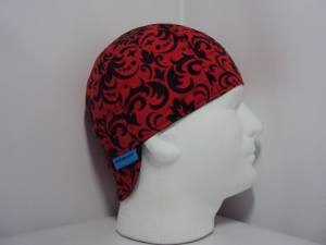 Red Damask Welding Caps