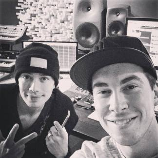 Hardwell and Headhunterz in the studio.