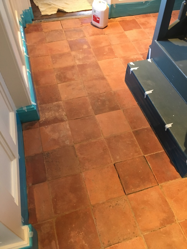 Clay Pamment Tiled Hallway Before Cleaning Lingfield Surrey