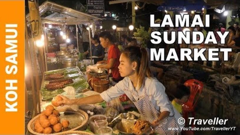 KOH SAMUI 4K - Lamai Beach Sunday Market - Just the food - Thai Street food - Koh Samui, Thailand