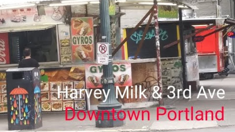 Food Carts @ Harvey Milk & 3rd Ave || $7.99 Gyro || Cameron's Bookstore || Portland, Oregon