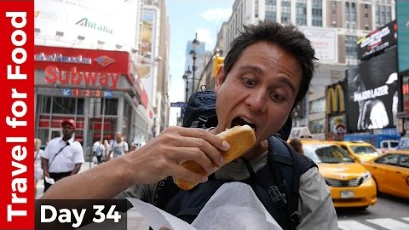 Hot Dog at Penn Station and Flying from NYC to Hong Kong on United Airlines (16 Hour Flight!)