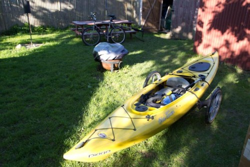 Wike bicycle trailer for kayaking