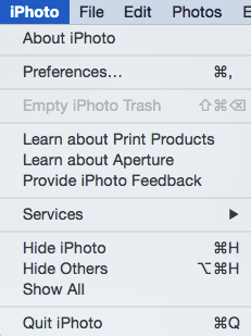 iPhoto menu, Preferences