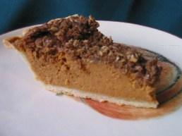 pumpkin pie with pecan crumb topping