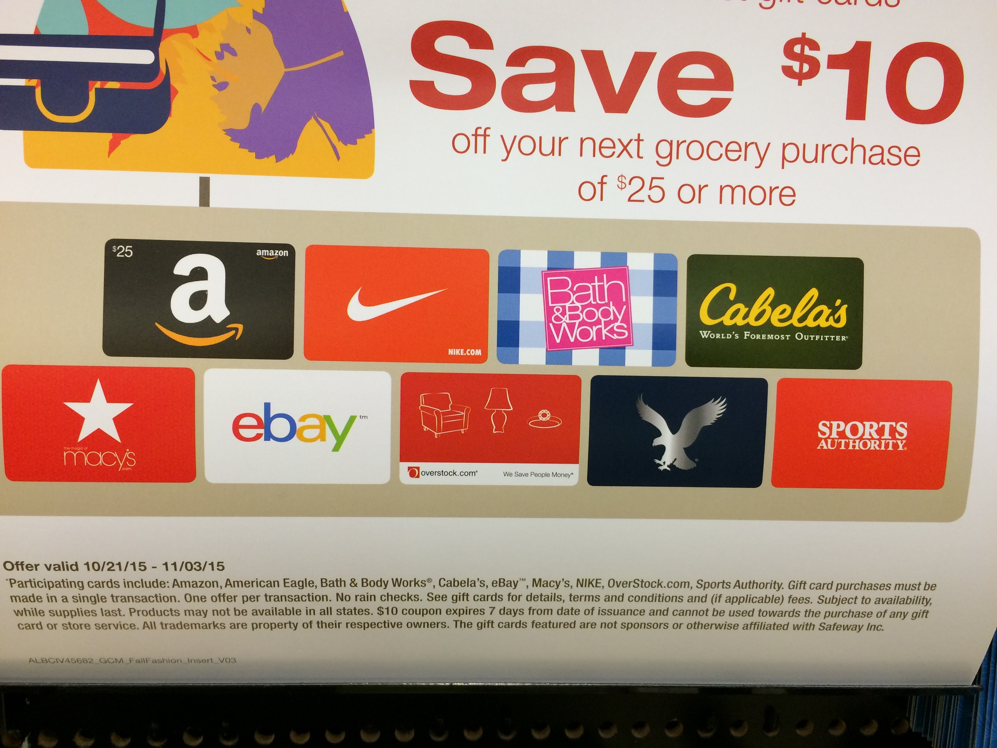 safeway gift card 10 rebate on 100 ebay and amazon gift cards at safeway 8442
