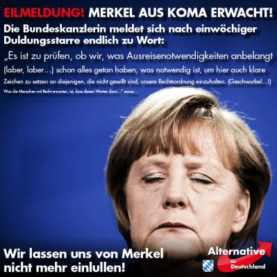 Merkel aufgewacht