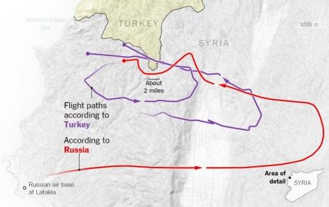 Route der Su-24 in Syrien (Quelle: NYT)