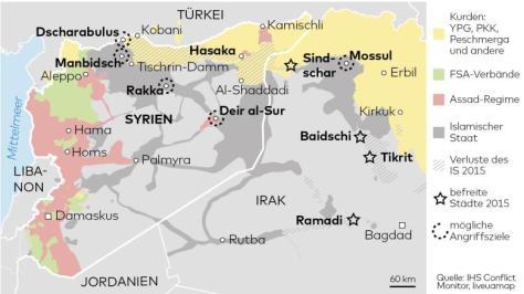 Syrien: regionale Verteilung der Kriegsparteien
