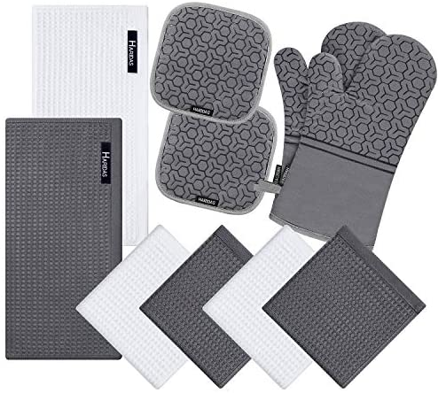 10 Piece Set Silicone Oven Mitts and Pot Holder,with ...