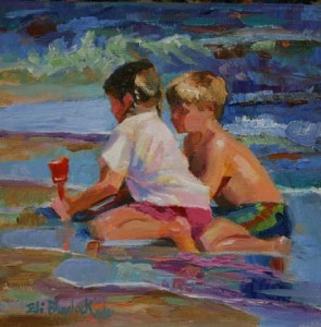 Boy and Girl Playing at the Beach by Elizabeth Blaylock