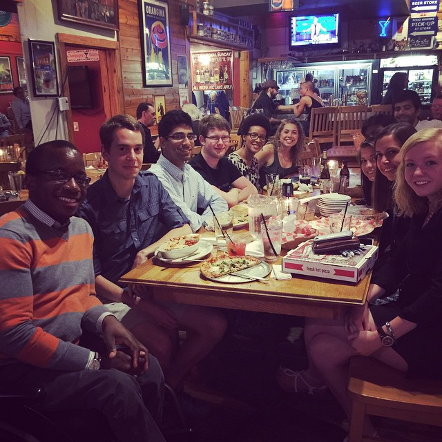 In this photo, Courtney D. (at the far end of the left side of the table) and Hadley C. (at the close end of the right side of the table) already knew each other before becoming students at Virginia Tech and then coming to a Stranger Dinner!