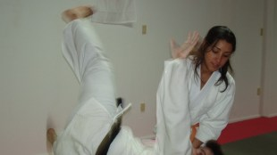 Vanessa Lopez, a Hapkido instructor in Miami, throws a fellow martial artist