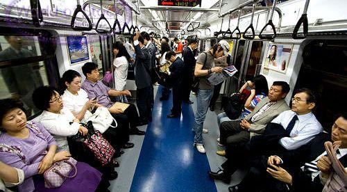 South Korea subway commuters
