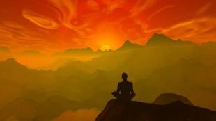 Wise man meditating