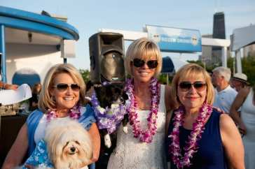 2014 Beach Party Co-Chairs Kimberly Gleeson, Cheri Lawrence & Christine Mallul with dogs Spencer & Bentley