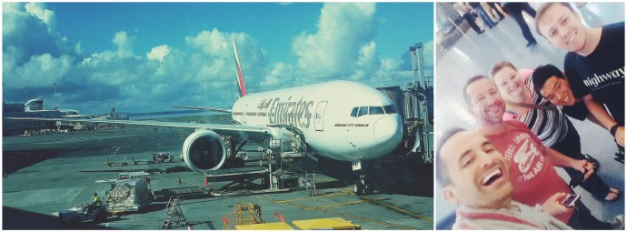 The Emirates Boeing 777-200 parked at Auckland after a non stop flight from Dubai / My welcome party that met me at the airport